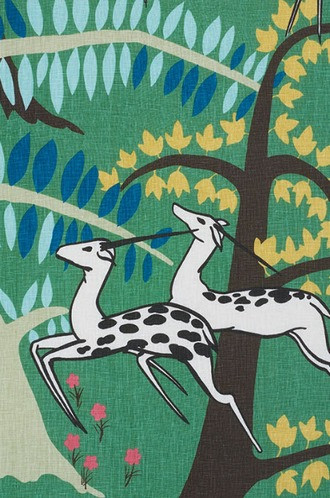 Antelopes Fabric in Jade