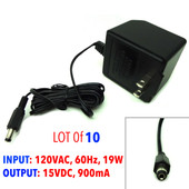 [Lot of 10] AC Adapter 120VAC, 60Hz, 19W, 15VDC, 900mA, 481509003CO,PN AD1590-CB
