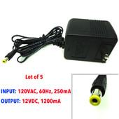 [Lot of 5] AC adapter 120VAC, 60Hz, 250mA, 12VDC, 1200mA, 12V 1.2A New