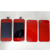 Color Apple iPhone 4 x2 LCD Display Screens and x2 Back covers Red Lot of 4pcs
