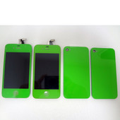 Color Apple iPhone 4 x2 LCD Display Screens and x2 Back covers Green Lot of 4pcs