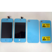 Color Apple iPhone 4 x2 LCD Display Screens and x2 Back covers Blue Lot of 4pcs