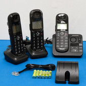 Panasonic KX-TGL430B Cordless Phone Answering Machine w/ 3 Handsets TGA20B, 3 Base & PS