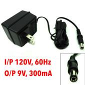 AC Adaptor I/P 120V, 60Hz O/P 9VAC , 300mA, Model PPI-0930-UL