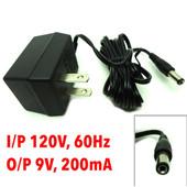 AC Adapter I/P 120V, 60Hz, O/P 9VAC, 200mA, 9 V Model LF09200A-08