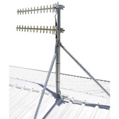 Supports large antenna applications or point to point systems  50mm OD (Outside Diameter) custom length galvanised pole   Stay bars made from 30mm pipe with pressed ends to 45deg each  5mm thick base plate