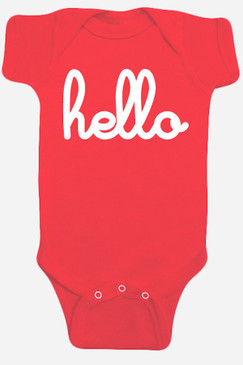 Hello Red One Piece Baby Romper