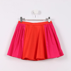 Two Way Pleated Skirt Deep Orange with Pink