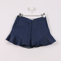 Flared Hem Shorts Blue Denim