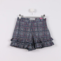 Frilly Hem Shorts Blue and Pink Speckled Print