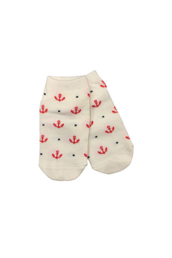 Red Anchors Ankle Socks