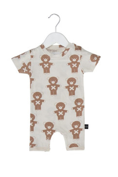 Huxbaby Soldier Bears Natural Short Romper