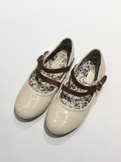 Beige Patent Shoe with Brown Strap