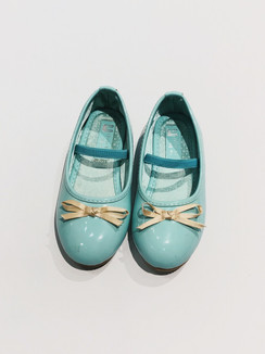 Aqua Patent Shoes with Ribbon