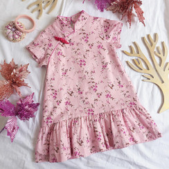 Floral Printed CNY Dress Pink