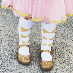 Hubble + Duke Knee High Socks - Three Bows Gold