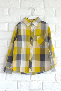 Mustard Checkered Long Sleeved Shirt