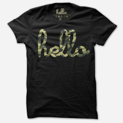 Hello Camo Black T-shirt Adult