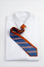 Narrow Repp Stripe - Orange and Blue