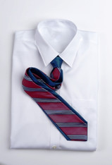 Narrow Repp Stripe - Blue and Red