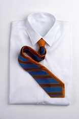 Narrow Repp Stripe - Black and Orange