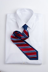 Wide Stripe Repp Stripe Tie - Red and Blue