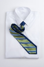 Wide Stripe Repp Stripe Tie -Green and Blue