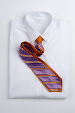 Wide Stripe Repp Stripe Tie -Orange and Purple
