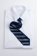 Wide Stripe Repp Stripe Tie - Black and Blue