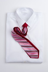 Wide Stripe Repp Stripe Tie - Red and Pink