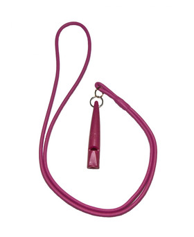 Lanyard & Whistle Set: Fuchsia leather lanyard