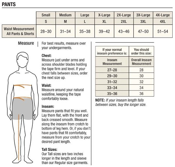 Mens Pants Sizing Guide