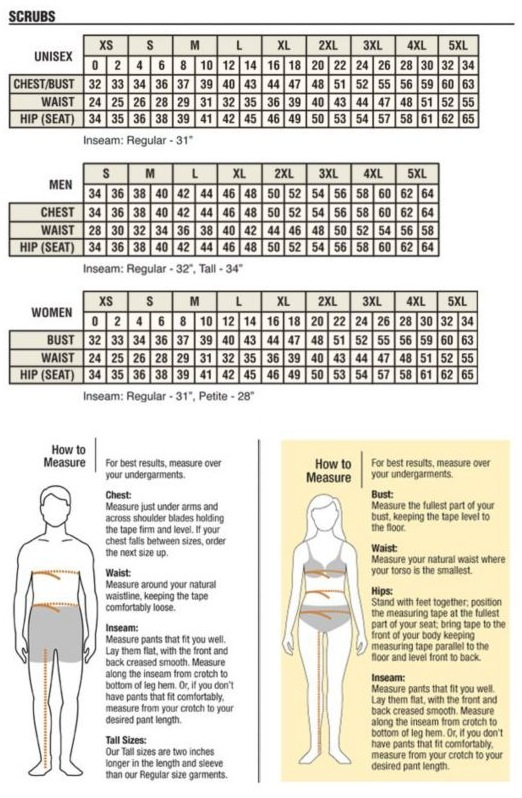 Scrubs - Mens & Womens Sizing Guide