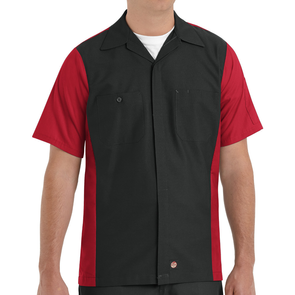 Charcoal Red Kap Men/'s Short Sleeve Solid Crew Work Shirt