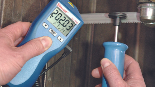 Starrett S7793Z Contact and Non-Contact Digital Tachometer in use. Brystar Metrology Tools.