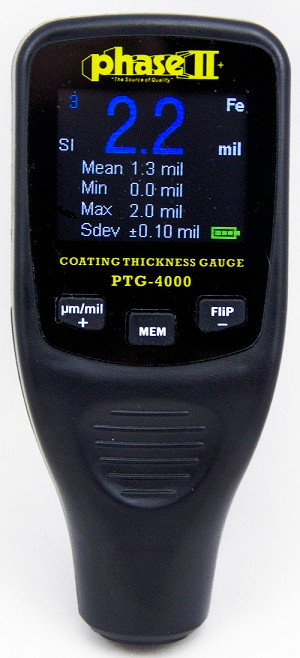 Phase II PTG-4000 Coating Thickness Gauge with Auto Detect. Brystar Metrology Tools.