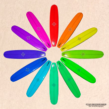 Surfboard Color Wheel on Beach