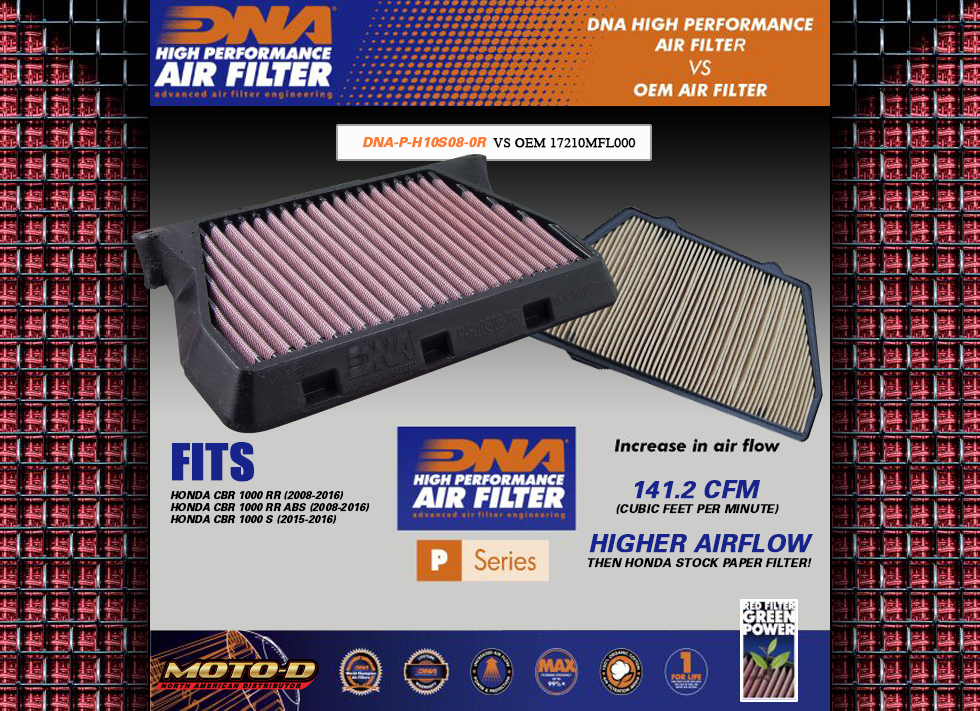 DNA has better performance then the stock honda oem air filter