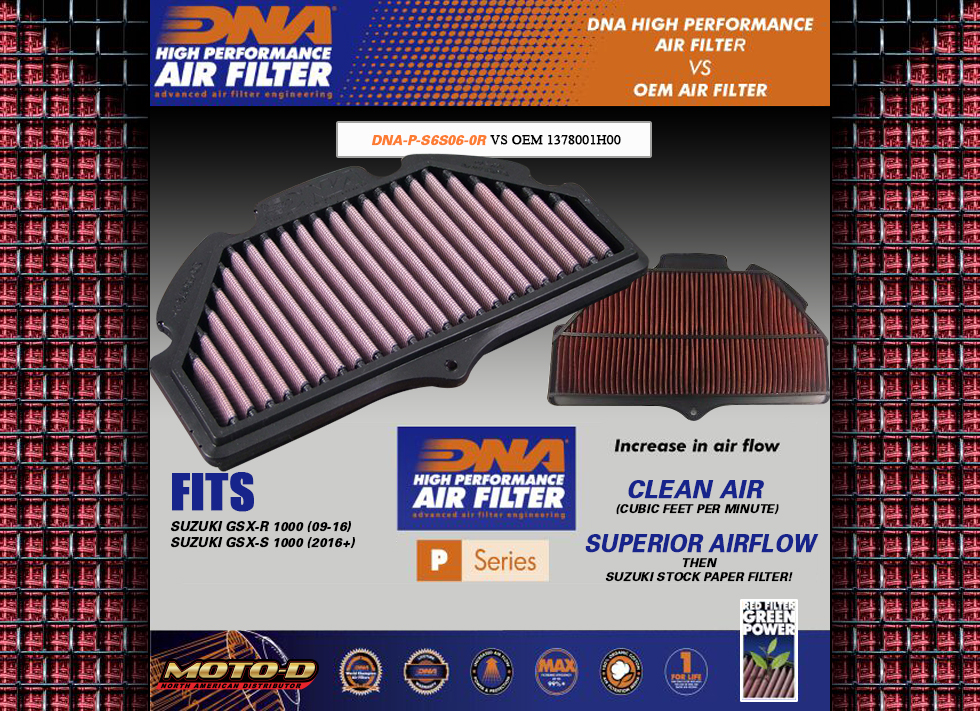 DNA Air Filters are superior to OEM Suzuki Paper Filters