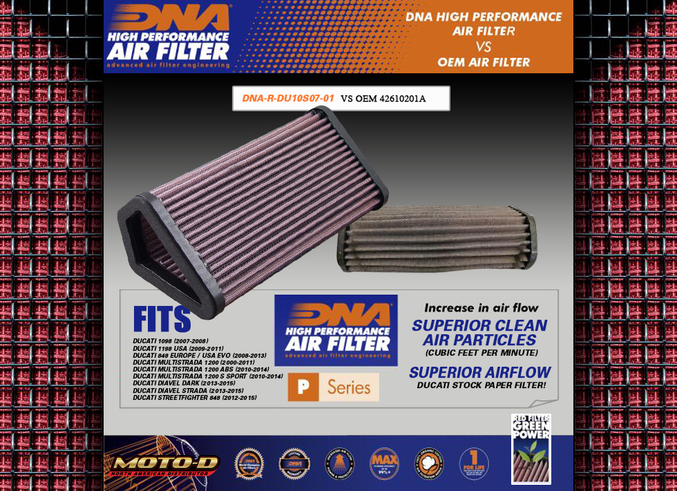Dna Air filters have a higher cfm rate the stock paper oem ducati filters