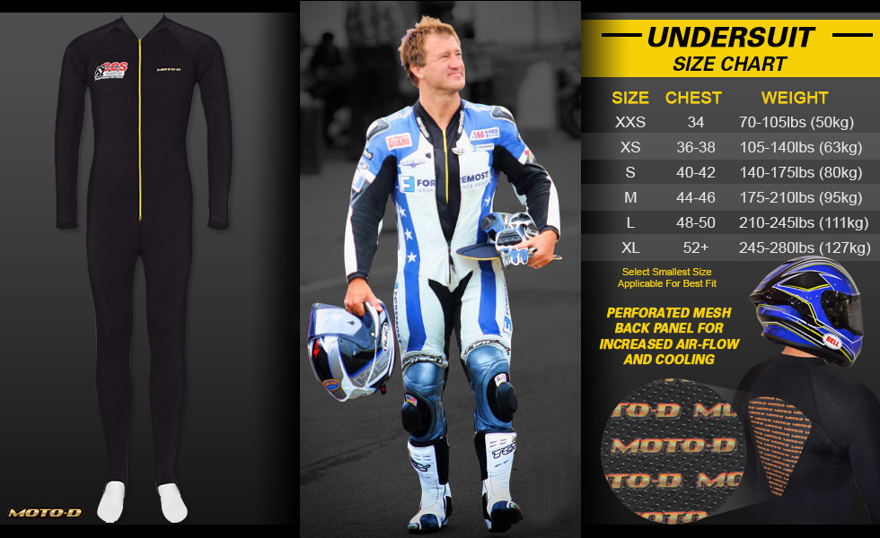 Coolmax Motorcycle Undersuit wicks Moisture and Perspiration to keep you COOL