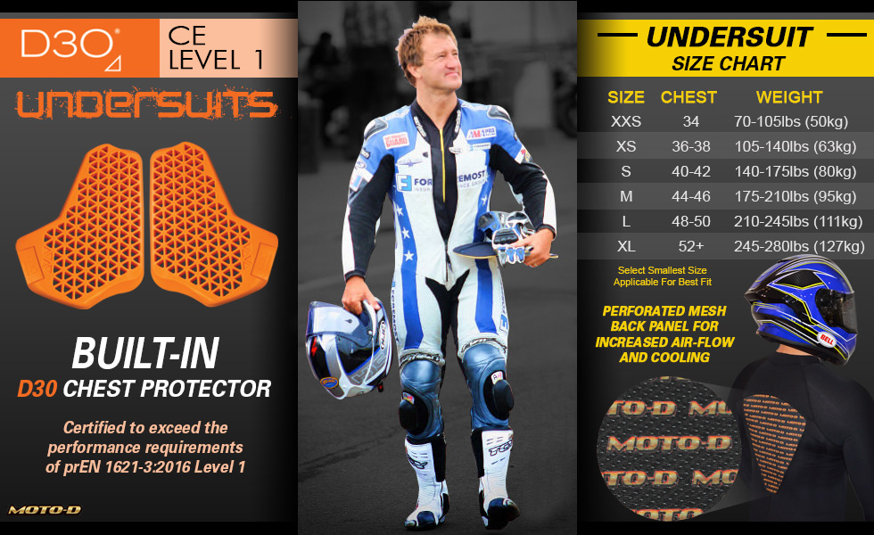 Motorcycle undersuit with D30 built-inchest protector