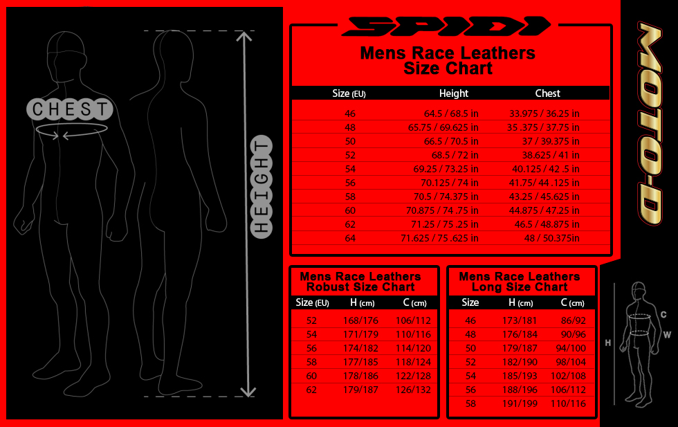spidi motorcycle leather suit size chart from MOTO-D