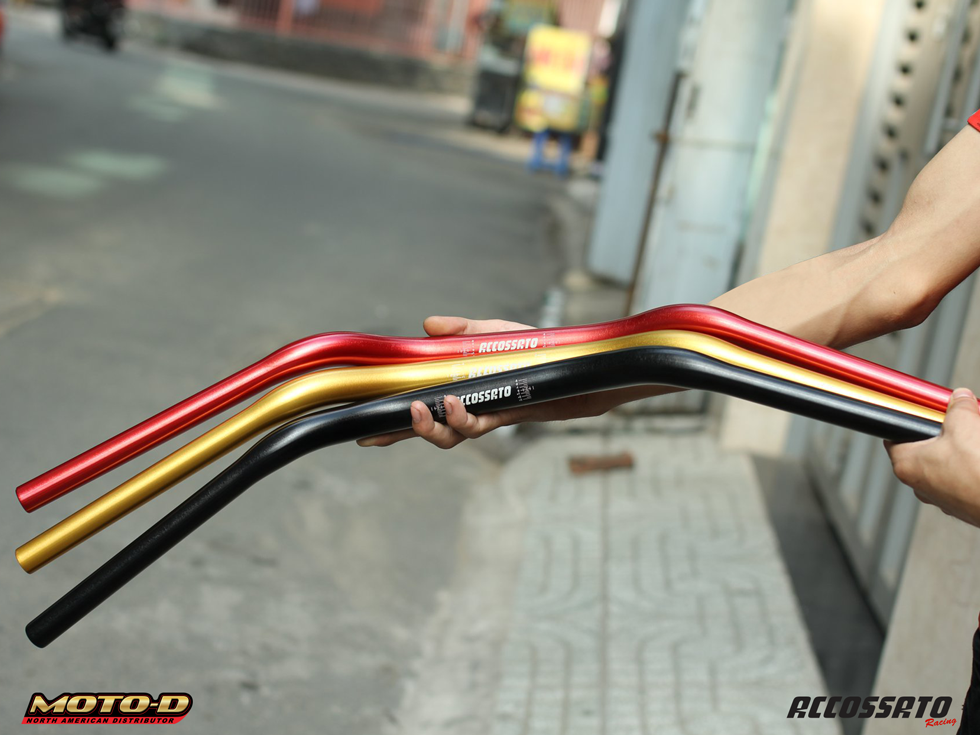 accossato anodized handle bar available at MOTO-D Racing