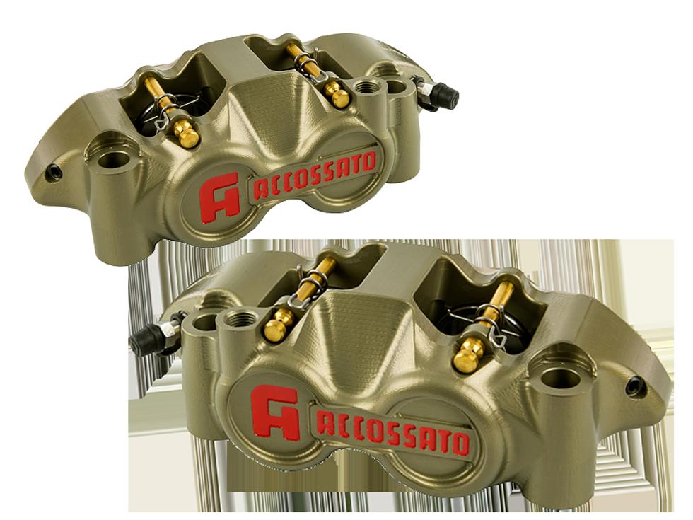 accossato  radial brake caliper cnc billet gold at moto-d