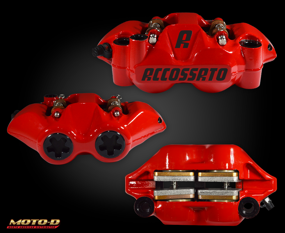 accossato red brake calipers at moto-d