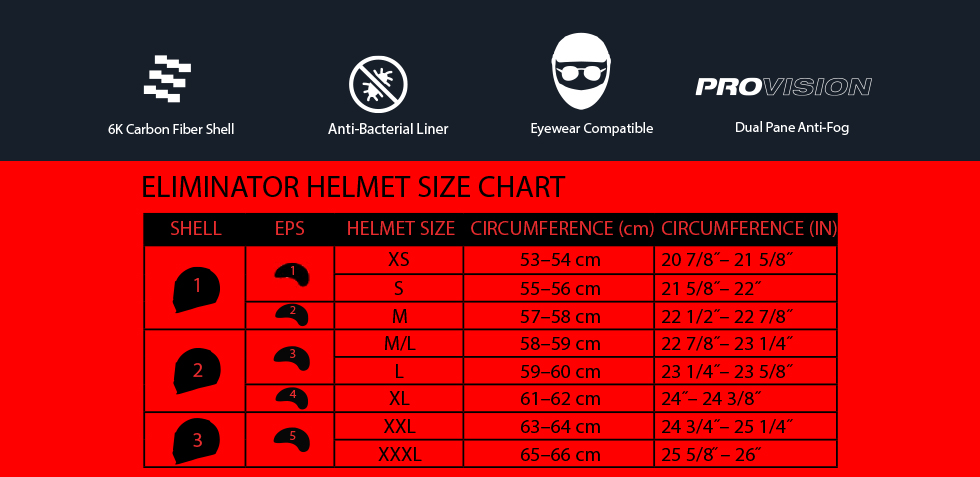 bell eliminator size chart at moto-d racing