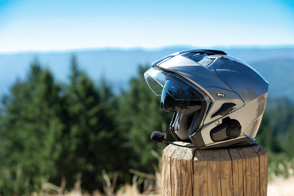 bell mag-9 helmet on the road at moto-d racing