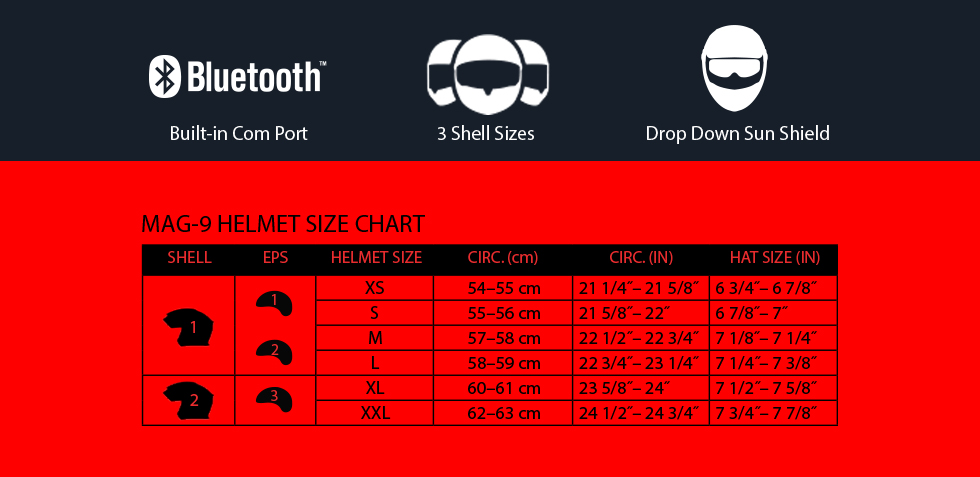 bell mag-9 size chart at moto-d racing
