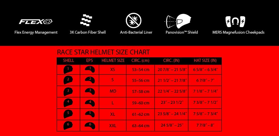 bell carbon race star flex size chart at moto-d racing